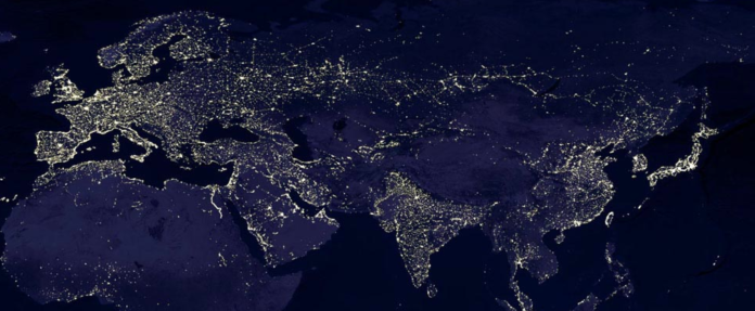 Eurasia at night